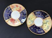 two NAUTLIUS side plates - hand painted flowers